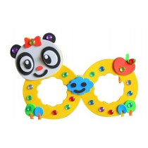 Set of 3 EVA Sticker Easy Crafts for Kids DIY Colorful Glasses(Cute Panda)
