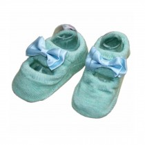 2 Pairs Bowknot Pattern Baby Girls Socks Comfortable Socks, Green[B]