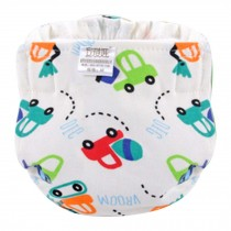 Cartoon Car Breathable Cotton Adjustable Washable Baby Diapers