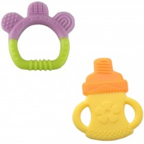Newborn Infant Training Soft Teeting Baby Toddler Relieving Teether Set of 2