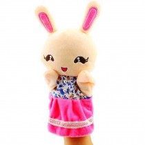 Cartoon hand puppet preschool educational toys for Toddler(Rabbit in Pink)