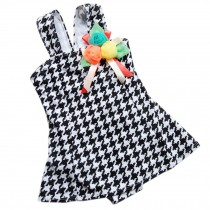 Cute Baby Girls Black Tartan Beach Suit Lovely Swimsuit 2-3 Years Old(90-100cm)
