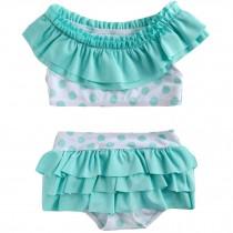 Cute Baby Girls Green Bikini Beach Suit Lovely Swimsuit 1-2 Years Old(80-90cm)