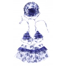 Two Piece Swimsuits of Kids Blue and White Porcelain Pattern,??85-95 cm??2-3 Years