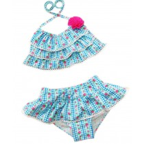 Two Piece Swimsuits Strawberry Wave Pattern Blue&Red, ??95-105 cm??2-3.5 Years