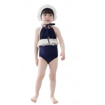 Beautiful Baby Girl Swimsuit A Suit of Swimming Cap And Swimsuit Blue (1~2Y)