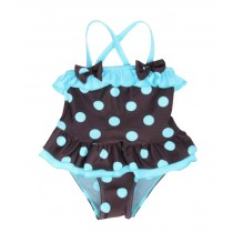 Beautiful Baby Girl Swimsuit Lovely Bow Spot Toddler Swimsuit Blue (2~3Y)