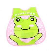 Lovely Green Frog Adjustable Waterproof PVC Baby Bib Pocket Protect Bib 45*28CM