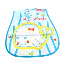 Lovely Smile Whale Adjustable Waterproof PVC Baby Bib Pocket Protect Bib 45*28CM