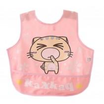 Lovely Cartoon Cat Waterproof PVC Feeding Baby Bibs Pink
