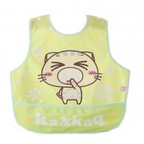 Lovely Cartoon Cat Waterproof PVC Feeding Baby Bibs Yellow