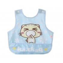 Lovely Cartoon Cat Waterproof PVC Feeding Baby Bibs Blue