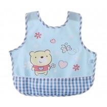 Lovely Cartoon Bear Waterproof PVC Feeding Baby Bibs Blue