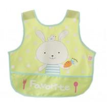 Lovely Cartoon Rabbit Waterproof PVC Feeding Baby Bibs Yellow