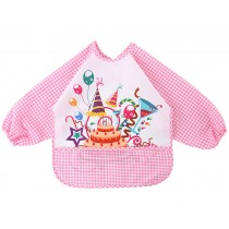 Cartoon Waterproof Baby Bib Kids Painting Smock PINK Carnival, 1-3 Years
