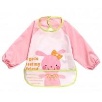 Cute Cartoon Rabbit Waterproof Sleeved Bib Baby Smock Baby Bibs, 0-3 Years