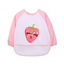 Breathable Waterproof Sleeved Baby Bib Kids Feeding Smock Strawberry