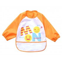 Cute Cartoon Waterproof Sleeved Bib Baby Smock Baby Bibs ORANGE, 0-3 Years