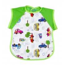 Summer Cotton Waterproof Short Sleeved Bib Baby Feeding Smock CARS, 1-3 Years