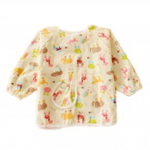 Animal Cotton Waterproof Sleeved Bib Baby Feeding Bibs Art Smock One Size, 2 PCS
