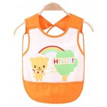 Waterproof Baby Bib Overclothes Painting Smock Apron Sleeveless Orange