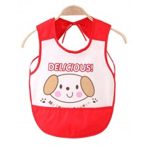 Waterproof Baby Bib Overclothes Painting Smock Apron Sleeveless Red