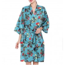 European Style Salon Client Gown Robes Hairdressing Gown for Clients, Blue