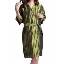 Beauty Salon Straight Strip Gown Robes Hairdressing Gown for Clients, Green