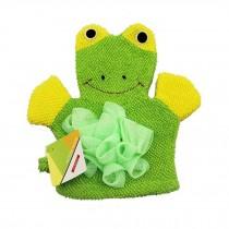 Cute Cartoon Baby Bath sponge Gentle Exfoliating Bath Glove (Green)