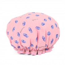 Stylish Design Waterproof Double Layer Shower Cap Spa Bathing Caps, Pink Kiss