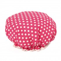 Stylish Design Waterproof Double Layer Shower Cap Spa Bathing Caps, Rose Dot