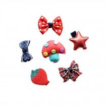 Set of 6 Cute Soft Cloth Hair Clip Set Red Hair Barrettes Small Bow Clips