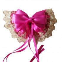 Women Bowknot Hair Clip Handmade Lace Hair Barrette Large Hair Bow with Ribbon