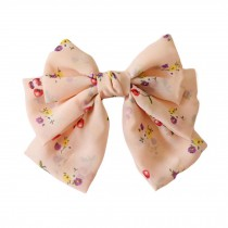 Floral French Barrette Style Hair Pin Handmade Hair Barrette Chiffon Bowknot 9.4