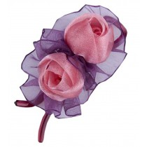 [Pink] Double-Rose Hair Styling Tool Barrette & Ponytail Holder Hair Clip
