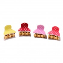 Random Colors Small Hair Claws Polka Dots Hair Pins Lovely Hair Grips Set of 5