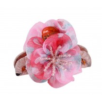 Delicate Flower Chiffon Beaded Hair Claw Pink
