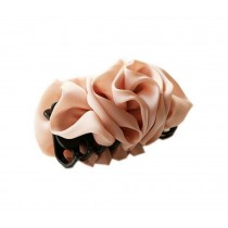 Korean Style Hair Accessory Large Pink Satin Flower Hair Claw