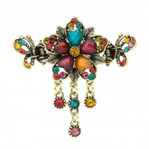Retro Luxury Aulic Style Crystal Bronze Alloy Hair Claws, Flowers(multicolor)