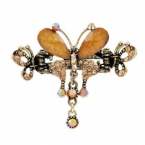 Retro Luxury Aulic Style Crystal Bronze Alloy Hair Claws, Butterfly(Coffee)