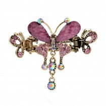 Retro Luxury Aulic Style Crystal Bronze Alloy Hair Claws, Butterfly(Purple)