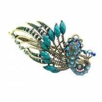 Retro Peacock Pattern Luxury Aulic Style Crystal Bronze Alloy Hair Claws, Cyan