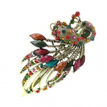 Retro Peacock Pattern Luxury Aulic Style Crystal Bronze Alloy Hair Claws, Mixed