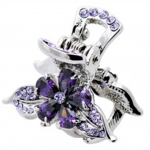 Sweet Flower Hair Claw Elegant Hair Clip Small Size Claw/Hairpin(Purple)