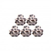 [Set Of 5] Fashion Cute Leopard Mini Fringe Clip Hair Styling Claws, WHITE Bear