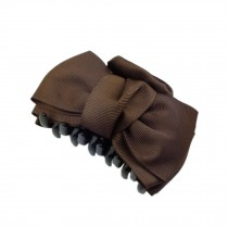 [Set Of 2] Handmade Bowknot Jaw Clip Hair Styling Claws, 3.7 inches, Dark COFFEE