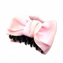 [Set Of 2] Handmade Bowknot Jaw Clip Hair Styling Claws, 3.7 inches, PINK