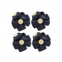 [Set of 4]Fashion Knit Bowknot Small Jaw Clip Hair Styling Claws,2.4 inches,NAVY
