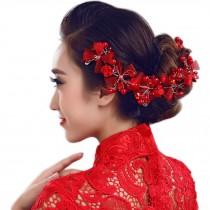 Flower Rhinestones Beads Bridal Wedding Lace Headband Hair Accessories, B