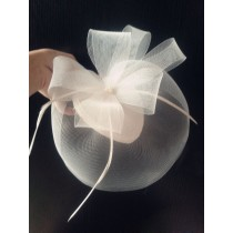Hand Made Vintage Style Feather Bridal Veil Hairpin, White